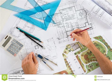 design a blueprint architect with blueprints royalty free stock images