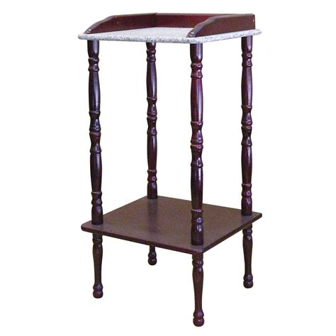 marble accent tables ore international cherry accent table with marble top by