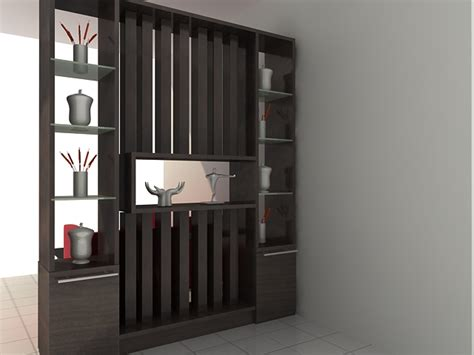 Dekorasi Pajangan Kayu Model Tv lemari penyekat ruangan minimalis modern