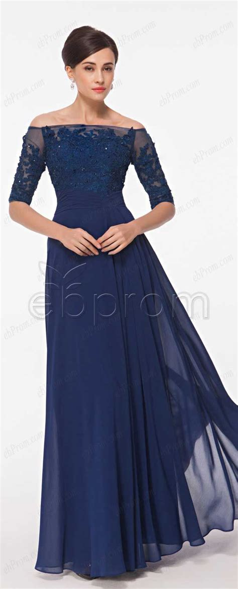 beaded lace navy blue prom dresses with sleeves evening