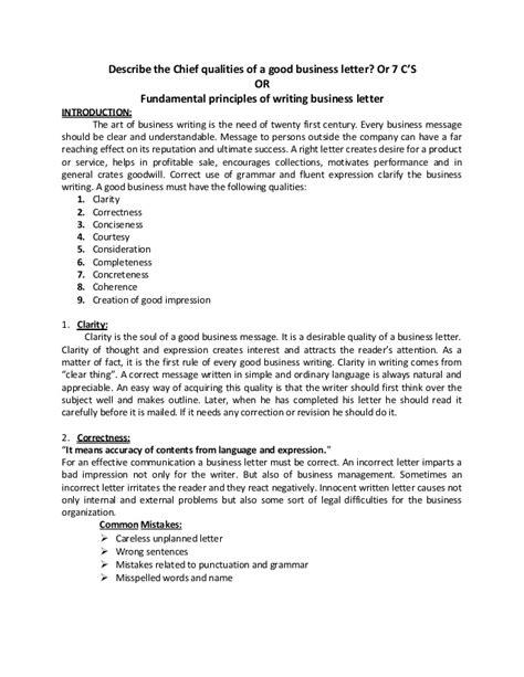 fundamental principles writing business letter cs