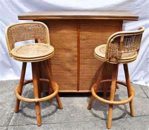 Vintage Tiki Bar And Swivel Stools Bamboo Rattan Wicker