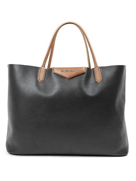 Givenchy Antigona Leather 61733 Leather lyst givenchy antigona large two tone leather tote in black
