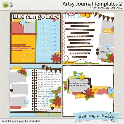 Digital Scrapbook Template Artsy Journal 2 Scrapping With Liz Picture Templates