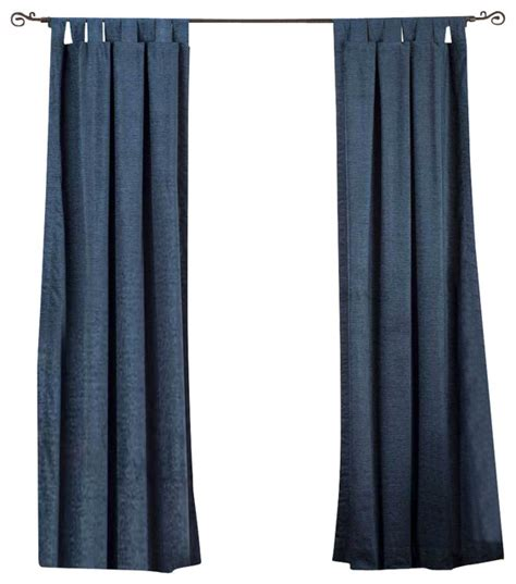 Navy Blue Tab Top Velvet Curtain Drape Panel 43w X