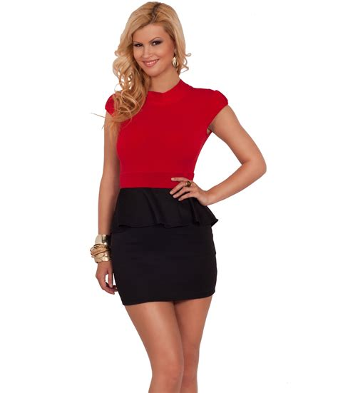 sleeve fitted bodycon open back peplum skirt pencil