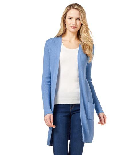 Cardigan Longs List Rib woolovers womens silk and cotton rib warm casual