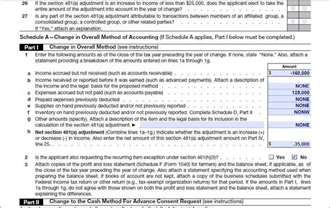 section 263a exle automatic change to cash method of accounting for tax