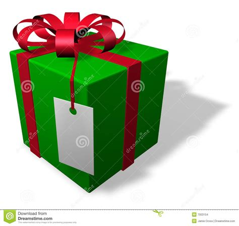 single christmas package with tag stock images image