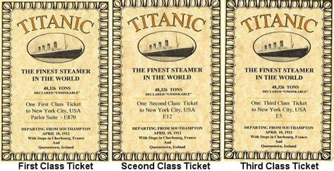 printable titanic tickets titanic had three different classes and each class had