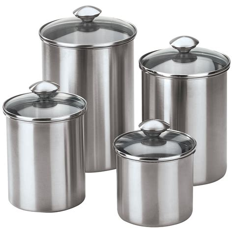 Kitchen Canister Sets Stainless Steel | 4 piece stainless steel modern kitchen canister set ebay