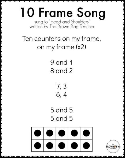 pattern math song 10 frame song printable lyrics the brown bag teacher