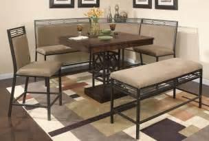Minimalist neutral kitchen nook set design on color block area rug and