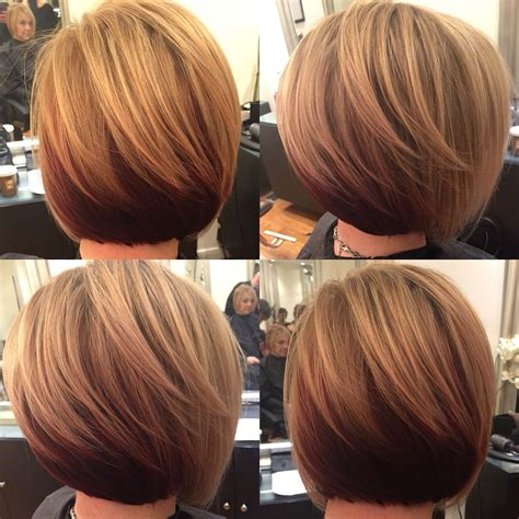 slightly stacked bob haircut short slightly stacked bob w highlights on dark blonde