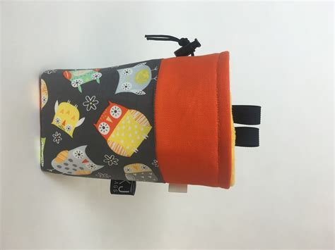 Handmade Chalk Bags - owls and orange canvas chalk bag kendal jackson bags