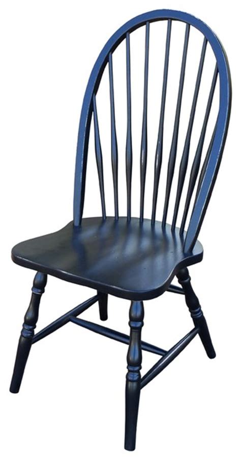 Windsor Distressed Black Side Chair Traditional Dining Black Distressed Dining Chairs