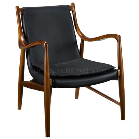 Black Leather Lounge Chair by Makeshift Lounge Chair In Black Leather By Modway