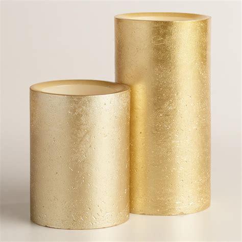 Gold Candle Pillars Rustic Gold Led Pillar Candle World Market
