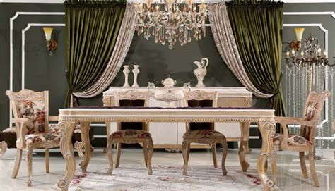 classic dining room furniture sarı 231 am masko klasik mobilya