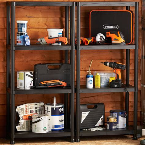 garage wall shelving vonhaus 4 tier garage shelving unit with wall brackets pack of 2 heavy duty 889911096933 ebay