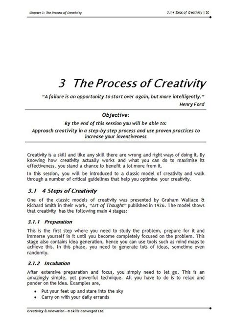 Creativity And Innovation Syllabus For Mba by Creativity Innovation Course Materials Skills