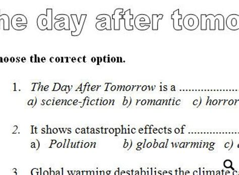 worksheet the day after tomorrow