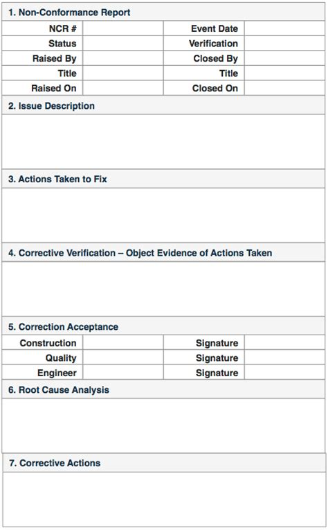 non compliance report template non conformance reports quality