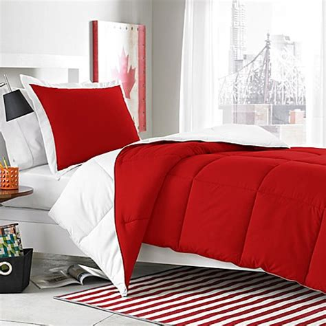 red and white bedding micro splendor white red reversible comforter set bed