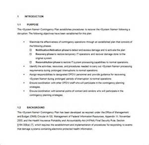 sle contingency plan template
