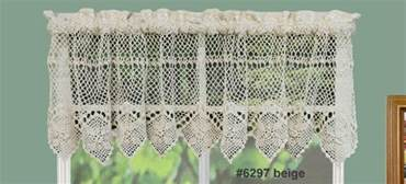 Crochet Valance Curtains Cotton Crochet Lace Kitchen Curtain Valance Beige Handmade Creative Linens Ebay