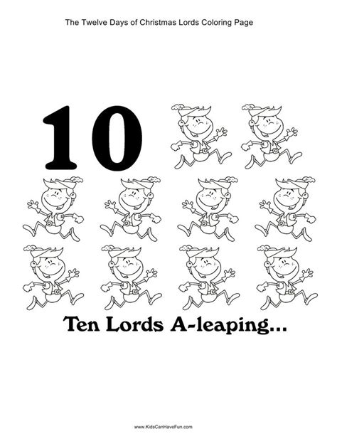 ideas for 10 lords a leaping 12 days of ten a leaping coloring page http www kidscanhavefun twelve days