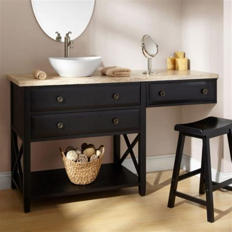 Bathroom Makeup Vanity Table Bathroom Brown Wooden Bathroom Vanity With Makeup Table With Sink And Grey Granite