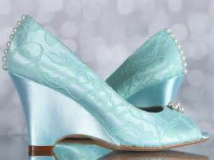aqua blue wedding shoes peep toe wedges with lace overlay