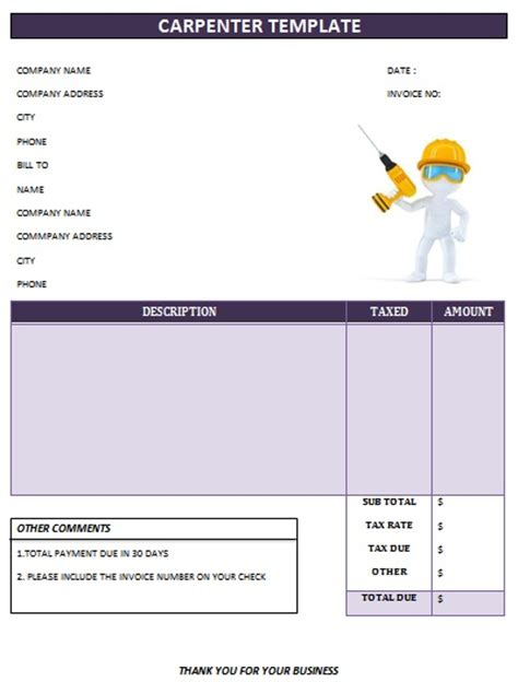 carpenter invoice template 25 professional carpenter invoice templates demplates