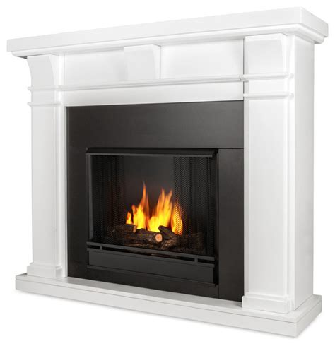 Indoor Gas Fireplace Ventless by Porter Ventless Gel Fireplace White Transitional