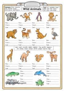 wild animals reading amp writing worksheet english