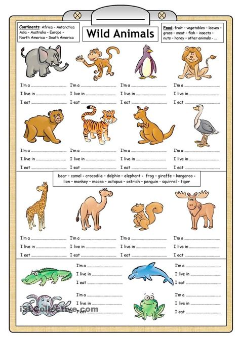 printable worksheets animals wild animals reading writing worksheet english