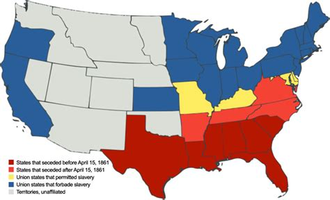 map of us states civil war monitor 150th anniversary civil war history