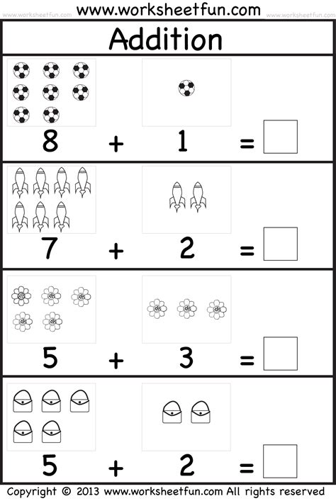 Picture Addition Worksheets by Picture Addition Beginner Addition Kindergarten