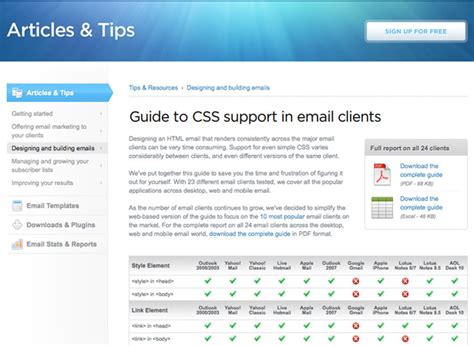 newsletter layout css a guide to creating email newsletters webdesigner depot