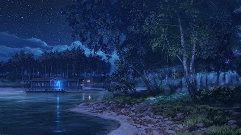 anime landscape android wallpaper download 1920x1080 anime landscape lake night stars