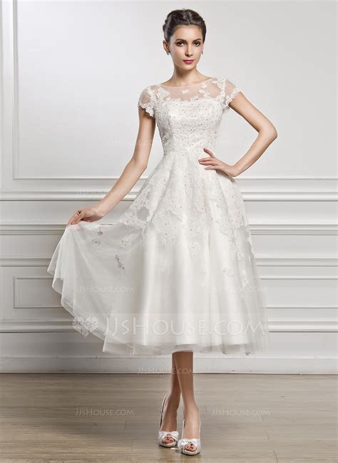 Brautkleider Wadenlang by A Line Princess Scoop Neck Tea Length Tulle Lace Wedding