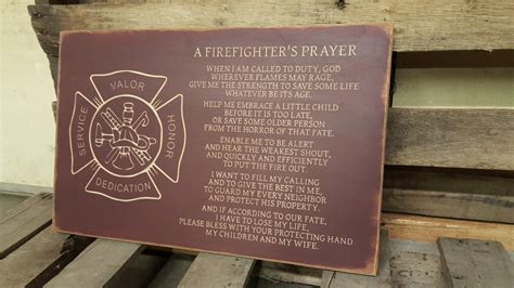 wooden prayer custom carved wooden sign firefighters prayer