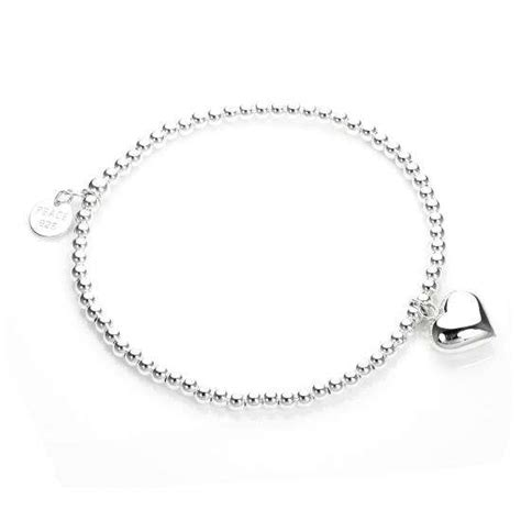 Sterling Silver Stretchy Beaded Heart Charm Bracelet   JewelleryBox.co.uk