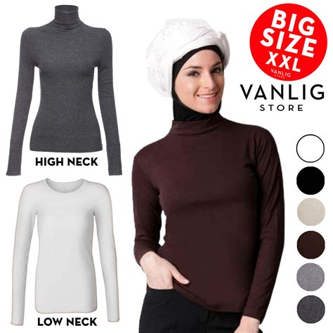 Turtle Neck High Blouse Lengan Tangan Panjang Sleeve Polos big size manset turtle neck low neck sleeves jumbo kaos lengan panjang turtleneck