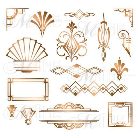 bronze deco accents clipart design elements instant vintage frame borders clip