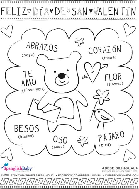 spanish for kids coloring pages