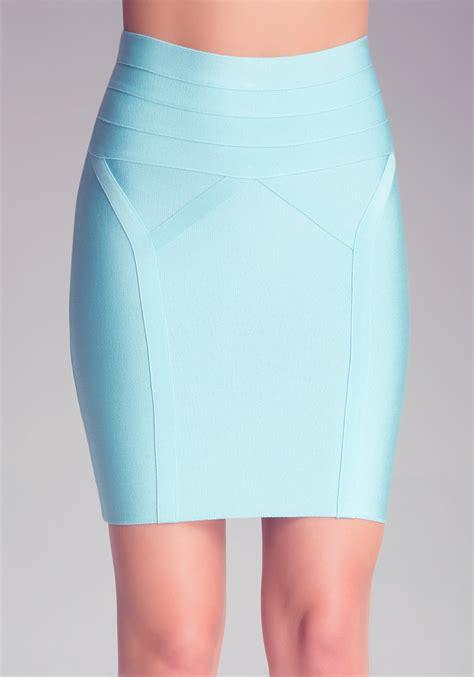 Highwaist Blue lyst bebe high waist bodycon skirt in blue