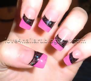 colored acrylic nails love4nailart pink black encapsulated colored acrylic nails