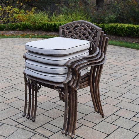 Cast Aluminum Patio Table And Chairs Oakland Living Mississippi 5 Cast Aluminum Patio Dining Set With 48 Quot Table And 4 Cushioned